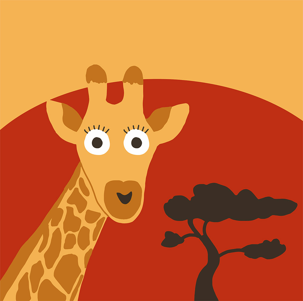 Illustration Girafe dans la Savane