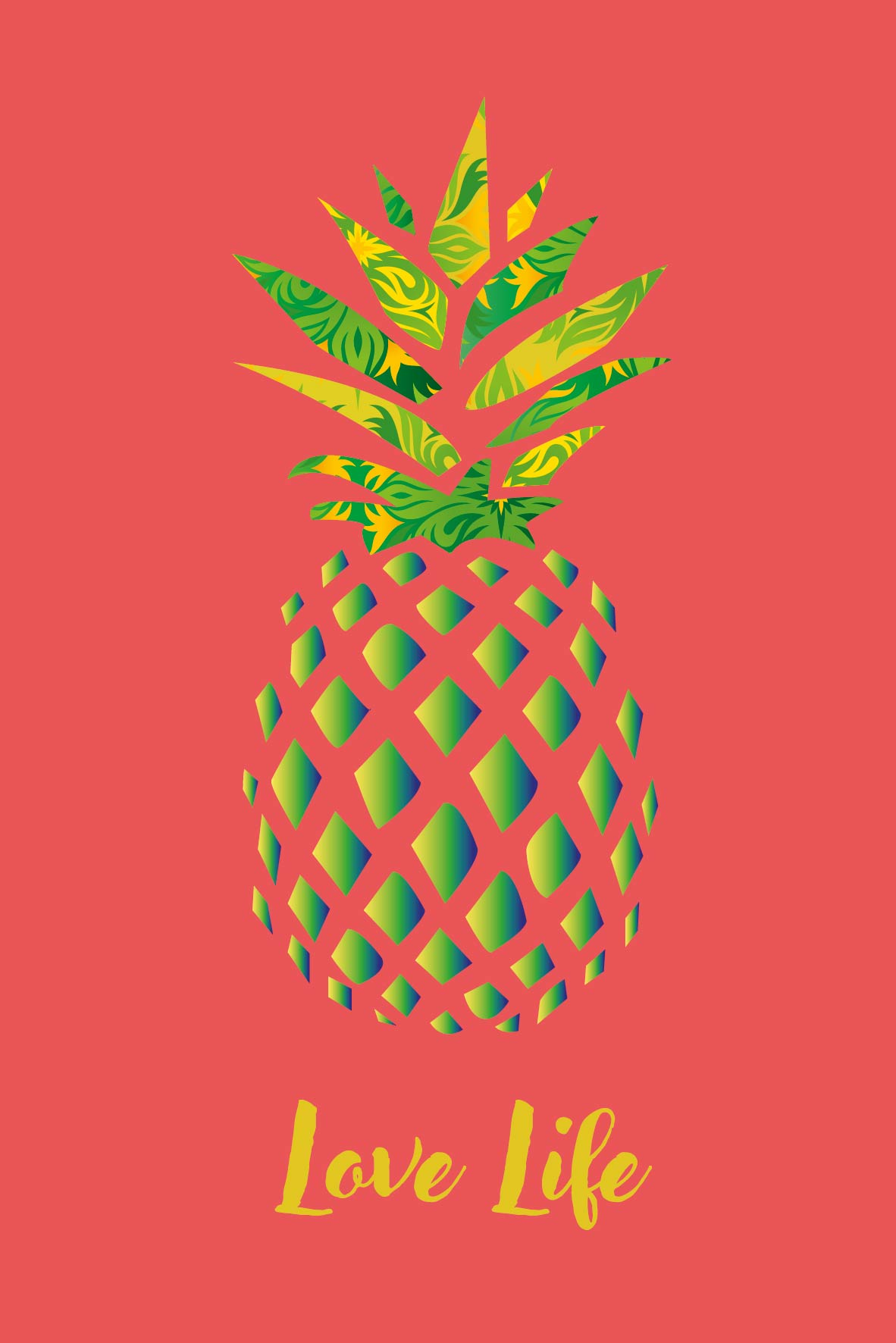 Illustration Ananas Love Life