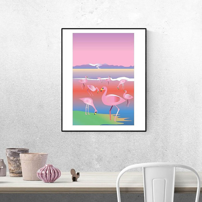Affiche Flamants Rose Laguna Colorada Bolivie