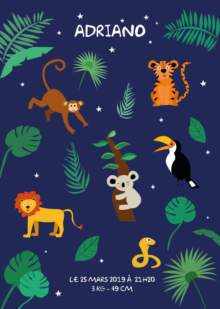 Affiche animaux de la Jungle